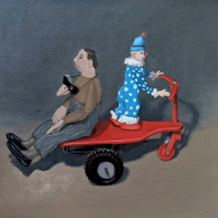 Birdman and Clown. 10x12. Oil on canvas mounted on panel.