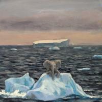 Elephant on Iceberg. 14x10. Oil on panel.