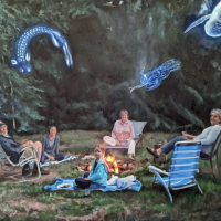 Family and Spirits Around the Fire. 18 x24. Oil on canvas.