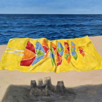 Just the Wind (Flying Beach Towel) 48x54. Oil on canvas.