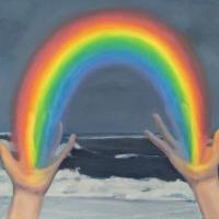 Rainbow Hands. 16x20. oil on canvas on board