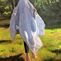 Swinging under airplanes.  28x20.  Oil on canvas
