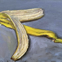 Banana Peel. 9x12. Oil on canvas mounted on panel.