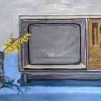 Forsythia and TV. 13.5x24. Oil on panel.