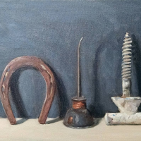 Shoe, oil can and screw. 9x12