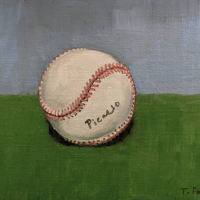 Signed Ball. 6x8 in. oil on linen mounted on panel.