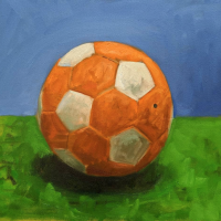 Soccer ball. 14 x16. Oil on canvas