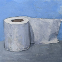 Toilet Paper. 9x12. Oil on panel.