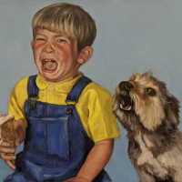 Crying Baby Barking Dog.  21x28.  Oil on canvas.