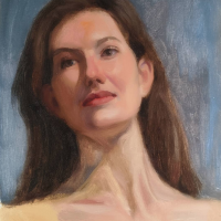 Portrait study.  12x10.  Oil on canvas on panel.