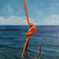 Hook and Orange Line. 12x9. Oil on canvas