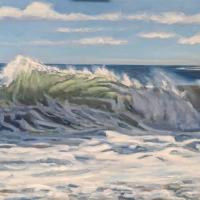 North Beach Wave. 30x48. Oil on canvas