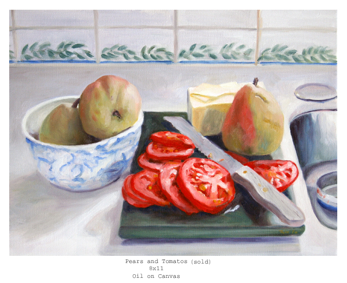 Pear and tomato Still life lg 8x11
